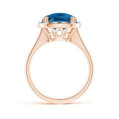 Toggle Cushion London Blue Topaz Cocktail Ring with Alternating Halo