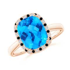 Cushion Swiss Blue Topaz Cocktail Ring with Alternating Halo