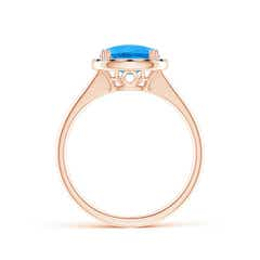 Toggle Cushion Swiss Blue Topaz Cocktail Ring with Alternating Halo