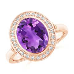 Bezel-Set Oval Amethyst Ring with Diamond Halo