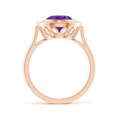 Toggle Bezel-Set Oval Amethyst Ring with Diamond Halo