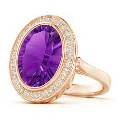 Bezel-Set GIA Certified Oval Amethyst Halo Ring