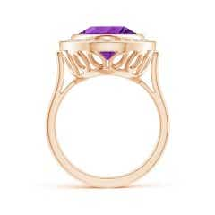 Toggle Bezel-Set GIA Certified Oval Amethyst Halo Ring