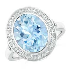 Bezel-Set Oval Aquamarine Ring with Diamond Halo