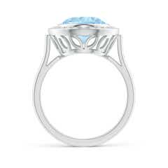 Toggle Bezel-Set Oval Aquamarine Ring with Diamond Halo