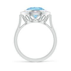 Toggle Bezel-Set Oval Aquamarine Ring with Diamond Halo
