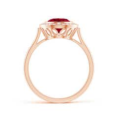 Toggle Bezel-Set Oval Garnet Ring with Diamond Halo