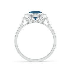 Toggle Bezel-Set Oval London Blue Topaz Ring with Diamond Halo