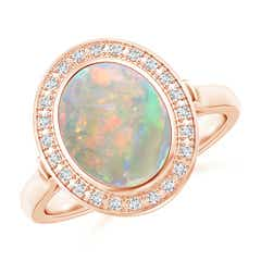 Bezel-Set Oval Opal Ring with Diamond Halo