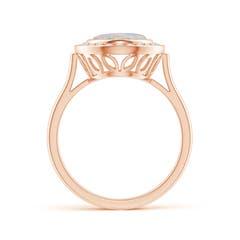 Toggle Bezel-Set Oval Opal Ring with Diamond Halo