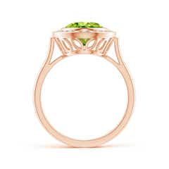 Toggle Bezel-Set Oval Peridot Ring with Diamond Halo