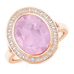 Bezel-Set Oval Rose Quartz Ring with Diamond Halo