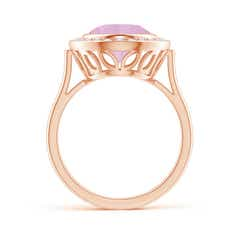 Toggle Bezel-Set Oval Rose Quartz Ring with Diamond Halo
