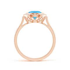 Toggle Bezel-Set Oval Swiss Blue Topaz Ring with Diamond Halo