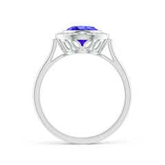 Toggle Bezel-Set Oval Tanzanite Ring with Diamond Halo