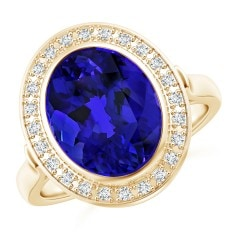 Bezel-Set GIA Certified Oval Tanzanite Halo Ring