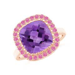 Cushion Amethyst Cocktail Ring with Pink Sapphire Halo