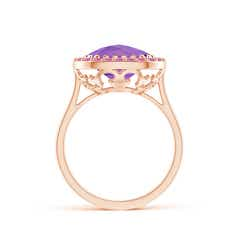 Toggle Cushion Amethyst Cocktail Ring with Pink Sapphire Halo