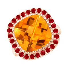 Cushion Citrine Cocktail Ring with Ruby Halo