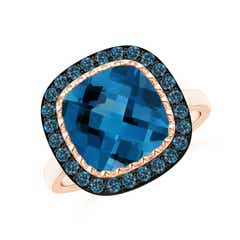 London Blue Topaz Cocktail Ring with Blue Diamond Halo