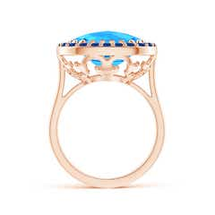 Toggle Cushion Swiss Blue Topaz Cocktail Ring with Sapphire Halo