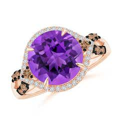 Round Amethyst Cocktail Ring with Coffee Diamond Accents