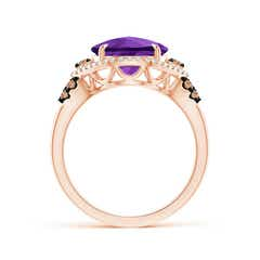 Toggle Round Amethyst Cocktail Ring with Coffee Diamond Accents