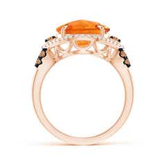 Toggle Round Citrine Cocktail Ring with Coffee Diamond Accents