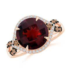 Round Garnet Cocktail Ring with Coffee Diamond Accents