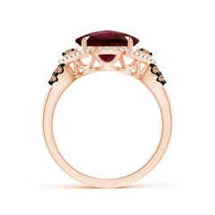 Toggle Round Garnet Cocktail Ring with Coffee Diamond Accents