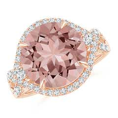 Round Morganite Cocktail Ring with Diamond Accents