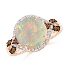 Round Opal Cocktail Ring with Coffee Diamond Accents
