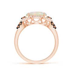 Toggle Round Opal Cocktail Ring with Coffee Diamond Accents