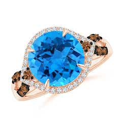 Swiss Blue Topaz Cocktail Ring with Coffee Diamond Accents