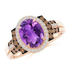 Vintage Style Amethyst Halo Cocktail Ring
