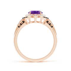Toggle Vintage Style Amethyst Halo Cocktail Ring