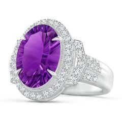 Vintage Style GIA Certified Amethyst Halo Cocktail Ring