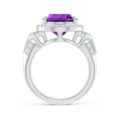 Toggle Vintage Style GIA Certified Amethyst Halo Cocktail Ring