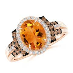 Vintage Style Citrine Halo Cocktail Ring