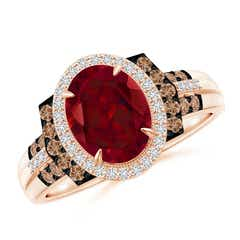 Vintage Style Garnet Halo Cocktail Ring