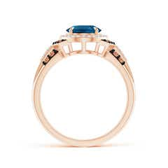 Toggle Vintage Style London Blue Topaz Halo Cocktail Ring