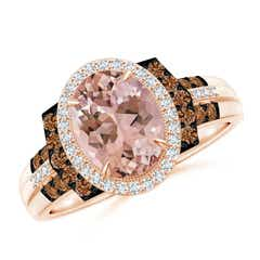 Vintage Style Morganite Halo Cocktail Ring
