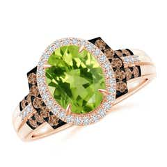 Vintage Style Peridot Halo Cocktail Ring