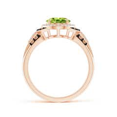 Toggle Vintage Style Peridot Halo Cocktail Ring