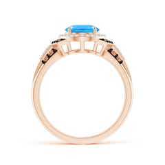 Toggle Vintage Style Swiss Blue Topaz Halo Cocktail Ring