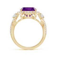 Toggle GIA Certified Cushion Amethyst Crossover Ring with Halo