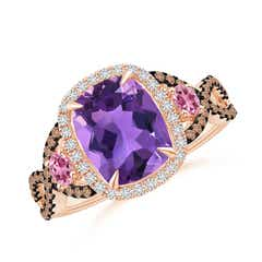 Amethyst and Pink Tourmaline Crossover Ring with Halo
