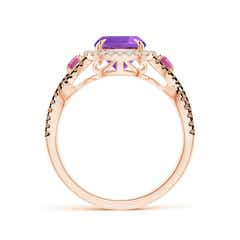 Toggle Amethyst and Pink Tourmaline Crossover Ring with Halo