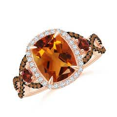 Citrine and Garnet Crossover Ring with Halo