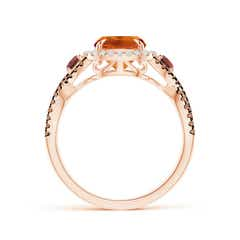 Toggle Citrine and Garnet Crossover Ring with Halo